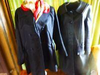 T 3/4  femme lot 3piéces ,noir manteau cuir+ veste+,foulard griffé   a saisir!!!