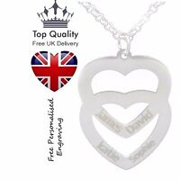Personalised Double Love Heart Necklace 4 Names Engraved Silver Jewellery UK