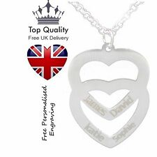 Double Love Heart Personalised Necklace Up To 4 Names Engraved Silver Jewellery