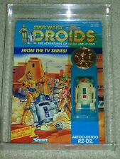 Vintage Star Wars 1985 AFA 80 RARE R2-D2 DROIDS CARTOON TV SERIES card back MOC!