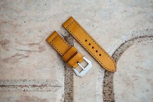 Handmade vintage yellow leather strap for Panerai with GPF buckle 27,26, 24,22mm