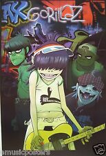 "GORILLAZ ""2D PLAYING GUITAR IN FRONT OF GROUP"" POSTER FROM ASIA - Damon Albarn"