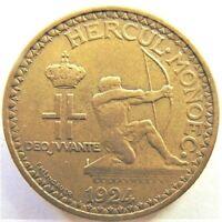 1924 MONACO, Louis II, 2 Francs, grading Good VERY FINE.