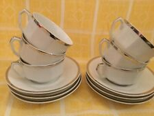 French 6 Limoges tea cups saucers white silver Rimmed Platinum Porcelaine China
