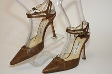 Jimmy Choo London Womens 5.5 35.5 Snake Leather Buckle Stiletto Italy Made Shoes