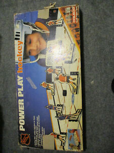 VINTAGE COLECO POWER PLAY TABLE TOP HOCKEY GAME 1985 w/ BOX PLAYERS GOALS PUCK