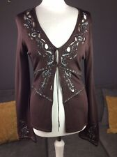 Karen Millen Brown Embellished Beaded Cardigan Top Sz 3 Uk 12 T7