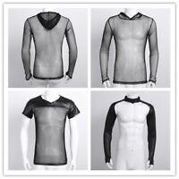 Mens Stretch Long Sleeve Fishnet Mesh See Through T-shirt Gothic Punk Rock Top