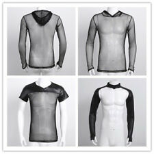 Sexy Men's Gothic Punk Rock Top Shrug Fishnet Mesh Muscle Sport T-shirt Clubwear