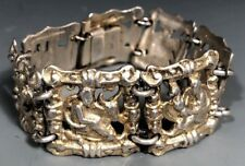 Norway Norwegian 830 Silver Gilt Bracelet w/ Mythology Scene Panels ca. 20th c.