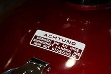 Honda TL 125 250 Elsinore Tankaufkleber Warnhinweis Deutsch Weiß Aufkleber Tank