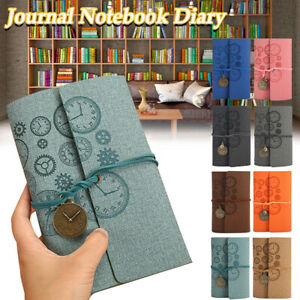 A6 Engraved Linen Leather Journal Notebook Diary Retro Vintage Blank Lined Memo