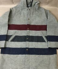 Woolrich Gray Zip Striped Hooded Peacoat Blanket Coat Jacket Mens XL Extra Large