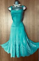 UK 12 KAREN MILLEN Green Silk Embroidered Beaded Fit Flare Cocktail Party Dress