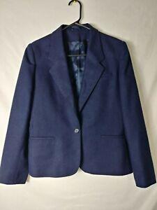Silver Unicorn Womens Skirt Suit Juniors Size 9 Blue One Button Virgin Wool Blnd