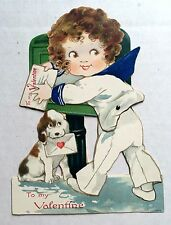 1920s Mechanical Valentine's Day Card Girl In Sailor Suit Mailing Card