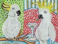 Cockatoo Drinking a Martini Original Pastel Painting 9x12 Art Parrot Exotic Bird