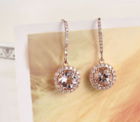 3Ct Round Cut Morganite Diamond Drop/Dangle Earrings Solid 18K Rose Gold Finish