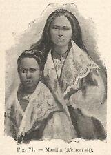B1364 Meticci di Manila - Incisione antica del 1928 - Engraving
