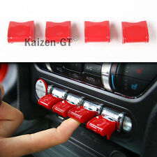 (4) Red ABS Center Control Button Switch Covers Trims For 15-up Ford Mustang