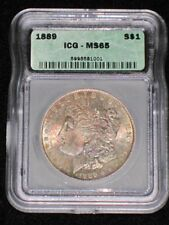 1889 MS 65 Rainbow Toned Certified Morgan Silver Dollar