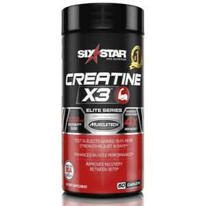 Six Star Creatine X3  BONUS SIZE BOTTLE 60 Caplets Exp-04/2022-01/2023