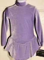 GK ELITE ICE FIGURE SKATE DRESS CHILD SMALL LgS LAVENDER VELVET TURTLENECK CS