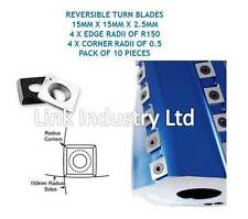 10 PCES. 15 X 15 X 2.5 Mm Reversible Turn Blades 4x R150 Borde Radii & Esquina RADs