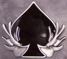 Pewter Belt Buckle Gamble Poker Ace of Spades NEW