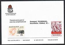 Belgio 1960/1990. complimenti CARD. NAMUR partito socialista. il giorno del lavoro.