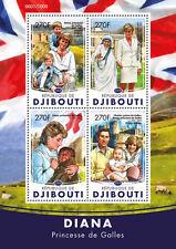 Djibouti 2016 MNH Princess Diana 4v M/S Prince William Charles Red Cross Stamps