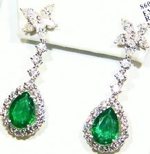 10.45CT 18K Gold Natural Cut Emerald White Diamond Vintage Engagement Earrings