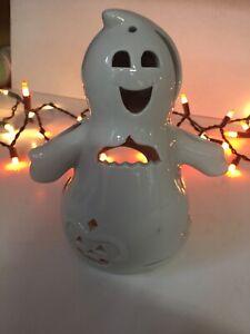"Goofy Ceramic Ghost Tealight Holder Tea Light Holder Candle Holder Halloween 7"""