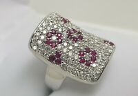 Ladies 18ct 18k White Gold Ruby (0.57ct) and Diamond (1.64ct) Floral Dress Ring