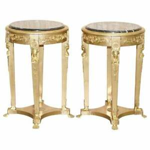 PAIR OF FRENCH EMPIRE LOUIS XVII GILTWOOD MARBLE TOPPED JARDINIERE BUST STANDS