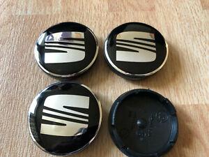 4 PCS Seat Wheel Centre Cap Alloy Hub Center Caps 56mm Black/Silver