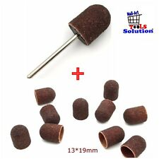 Punta fresa cilindri. Kit 1 pz stelo + 10 caps abrasivi. Manicure Pedicure