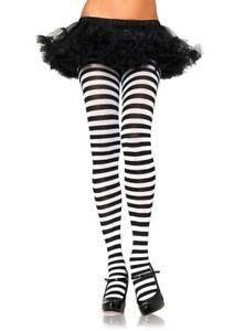 Leg Avenue Stripe Nylon/Poly Opaque Tights/Pantyhose Asso Colors Regular & Plus