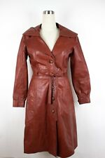 Vintage 70s Leather Jacket Womens  Belted  Trench Coat Brown Hood Sz 10