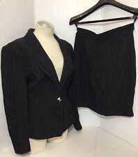 Vintage Thierry Mugler Black Blazer & Skirt 2PCS Set Size 44