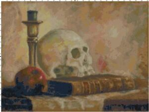 Halloween Library Counted Cross-Stitch Pattern of Skull, Book & Candle