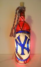 New York Yankees Inspired Wine Bottle Lamp Hand Painted Lighted