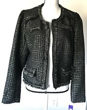Apt 9 Womens Long Sleeve Black Silver Houndstooth Full Zip Jacket Blazer Size L