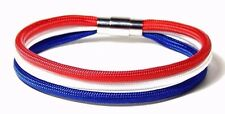 Red White Blue Three Strand Paracord  Bracelet Stainless Clasp Hand Made USA