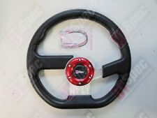 D1 RACE FLAT 320mm D STYLE PU LEATHER STEERING WHEEL FIT OMP MOMO NARDI SPARCO