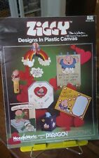Vtg plastic canvas needlework charts Paragon Ziggy modules tissue holder