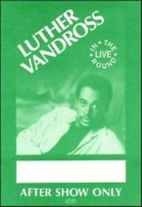 LUTHER VANDROSS 1987 GIVE ME THE REASON TOUR AFTER SHOW BACKSTAGE PASS / NM 2 MT