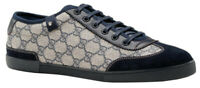 Gucci Men's GG Blue Canvas Lace Up Interlocking G Web Detail Trainer Sneakers