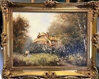 ORIGINAL OIL PAINTING SIGNED LES PARSONS 1985 COUNTRY COTTAGE IN GOLD GILT FRAME