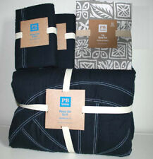 Pottery barn Teen Peace Out  quilt, 2 shams Navy Grey Tiki sheet set Full